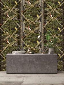 Holden Decor - Tropical Congo Geometric Jungle Animals Wallpaper -  Black 90202