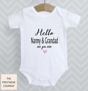 Hello Nanny & Grandad Announcement Reveal Baby Grow Bodysuit Babygrow Top Gift