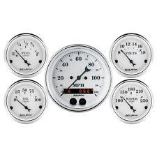 Auto Meter 1650 5 Pc. Gauge Kit GPS Speedometer Old Tyme White