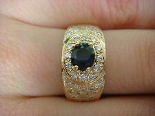 EXQUISITE SAPPHIRE AND DIAMONDS 14K & 18K YELLOW GOLD LADIES RING-BAND 5.6 GRAMS