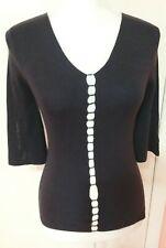 Georgia Studio Top Size S 100% silk Knit V Neck 3/4 Sleeve Dark Violet Color