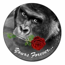 'Yours Forever' Gorilla with Red Rose Fridge Magnet Stocking Filler Ch, AM-11RFM
