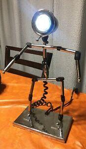 Robot Stick Figure Man Desk Lamp Table Light Industrial Chrome Steampunk Repair