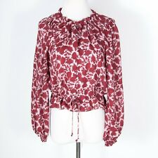 Intermix 100% Silk Red Floral Tie Front Blouse Small