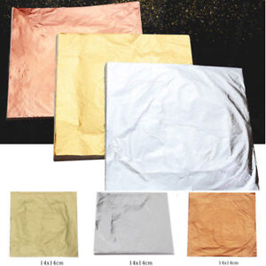 100Tlg 14x14cm Schlagmetall Blattmetall Gold/Silber/Kupfer vergolden Blattgold