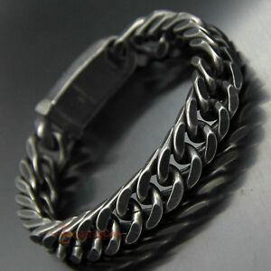 Gun Metal Gunmetal Curb Cuban Bracelet Vintage Stainless Steel Wristband 12mm
