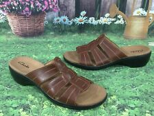 CLARKS 81897 Brown Leather Sandals Slides Open Toe Summer Shoes Size 8 M