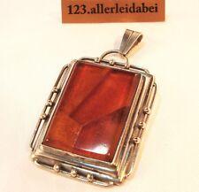 Original Fischland Bernstein Anhänger 835 Silber Fischmarke amber / AG 166