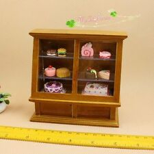 1/12 dollhouse miniature wooden shop display cabinet Cake counter