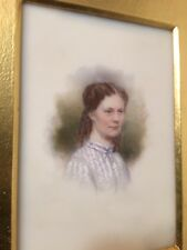 Antique Portrait Painting Of Young Woman On Porcelain Boston C. 1850 Identified
