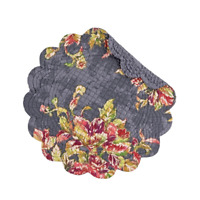 REGINA Quilted Reversible Round Placemat by C&F - Magenta, Coral Floral on Gray