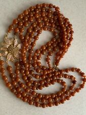 Vintage Art Deco Beaded  Amber Lucite  Seeds Beads Rhinestone Flower Necklace