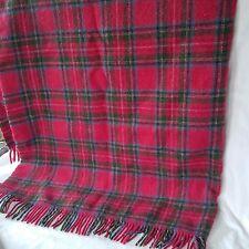 "L.L. BEAN 54 x 60"" Wool Tartan Red Plaid Throw Blanket Vintage"