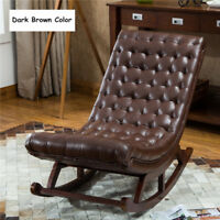 Luxury Modern Leather French Style Cushioned Wooden Lounge Rocking Chair