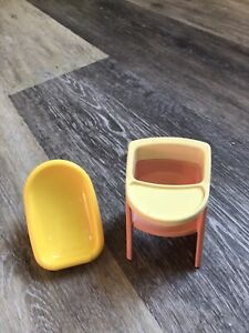 Little Tikes Dollhouse Furniture - Baby car seat and High Chair -Lot 1