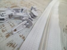 Upholstery Zip & Sliders - No.5 Heavy Continuous - White - 5 Metres - 10 Sliders