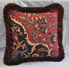 """Ralph Lauren Poet's Society Tapestry Fabric Custom Pillow 16"""" with Brush Fringe"""