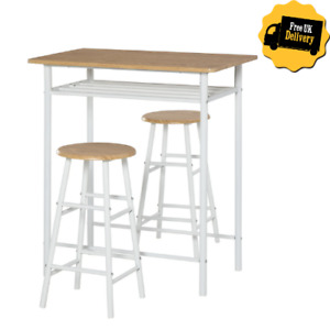 2 Seat Breakfast Bar Stools Set Space Saving Dining Table Chairs White Furniture