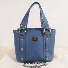 Authent MCM Blue Leather Tote Shoulder Bag + Dust Bag