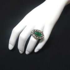 Costume Ring with Green Colored Stone, Oval Shaped, Antique Setting, Size 6.5