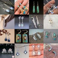 Fashion 925 Silver Turquoise Dangle Ear Hook Drop Women Jewelry Earrings Party