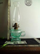 Antique Oil/Kerosene Finger Lamp Green Aquarius