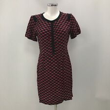 Bimba Y Lola Dress Women's Size Medium Black Red Lips Short Sleeve Sheath 030809
