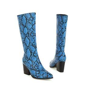 Women's Snakeskin Pattern Snakeskin Print Pointy Toe High Heel Mid Calf Boots L