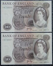 BANK OF ENGLAND - 1970-75 TEN POUNDS - Consecutive Pair - UNC - Pick #376 - NCC