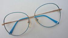 Brille Metall Gestell Damen Glasses 70er Vintage XXL Gläser Hipster blau size M