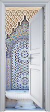 Adhesivo puerta trampantojo l'ojo decoración Fontaine oriental 90x200 cm ref