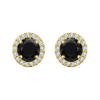 BLACK ROUND EXCELLENT 14K YELLOW GOLD FN STERLING SILVER CHRISTMAS GIFT EARRINGS