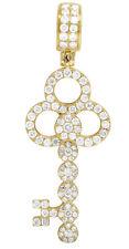 Diamond Ornate Key Pendant 1 1/2Ct Mens 14K Yellow Gold Interlocking Circle Real