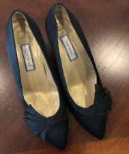 fe485e9b571 Vintage Gianni Versace Women s Black Satin Pumps - high heeled shoes Sz 38