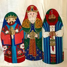 Vintage Cranston Fabric 3 wise men soft nativity printed sewing panel Christmas