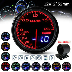 2'' 52mm 10 Colors LED Car Turbo Boost Gauge Analog Digital Dual Display 12V Bar