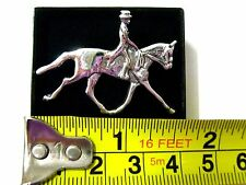 sterling Silver Horse and rider Dressage equestrian Hunting brooch stock Tie pin