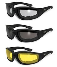 BEST EVER MOTORCYCLE RIDING GLASSES 3 PAIR PADDED SUNGLASSES CLEAR SMOKE Yellow