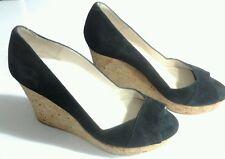 Boden Women's Black Suede Cork Heels Wedges Shoes Open Peep Toe 37 6.5 -7