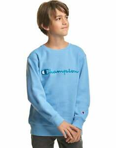 Champion Boys Sweatshirt Fleece Crewneck Youth Embroidered Script Logo Midweight