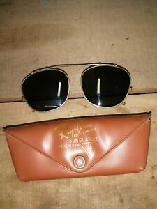 Ray-Ban Clip-On Style Sunglasses ~ by Bausch & Lomb ~ 48mm  w/ Case vintage