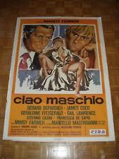 Ciao maschio Depardieu / Mastroianni. Manifesto originale cm 100x140 (1978) Raro