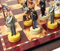 "US AMERICAN CIVIL WAR Queens Chess Set W 18"" Cherry & Burlwood Color Board"
