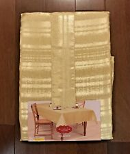 NEW st. nicholas square Tablecloth Gold Stripe Christmas Holiday Oblong 60 x 84