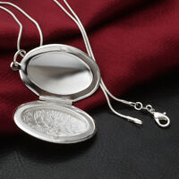 Silver Plated Steampunk Oval Locket Photo Frame Pendant Necklace Snake Chain New