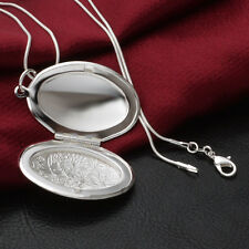 Silver Plated Steampunk Oval Locket Photo Frame Pendant Necklace Snake Chain