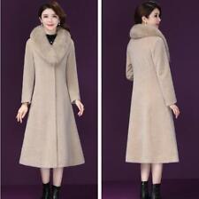 Plus Size Women Large Fur Collar Cashmere Coat Elegant Party Wool Outwear Winter
