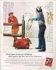 Original 1960 7up Cowboy Lasso ad 10½ x 14 inches tavern trove