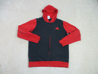 Adidas Sweater Adult Large Black Red Spell Out Hoodie Hooded Full Zip Mens 90s*