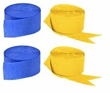 Blue and Gold Yellow Crepe Paper Streamers, 4 Rolls Total, Made in Usa